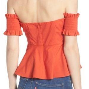Socialite Tops - Socialite Orange Off The Shoulder Top